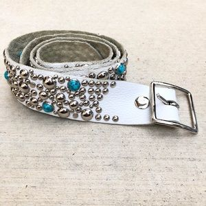 Accessories - Turquoise White Leather Embellished Belt